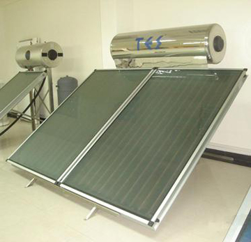 solar heating boiler with dual collector panels photo
